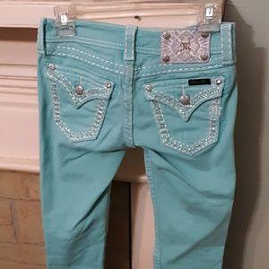 Miss Me Mint Green Skinny Ankle Jeans Sz 25